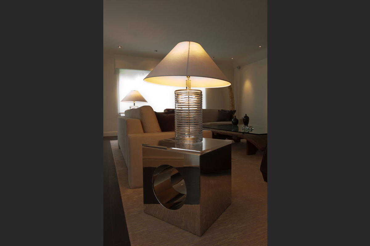 Bespoke-stainless-steel-table-with-Ralph-Loren-lamp.jpg - London Town House Residential Gallery - Definitive1 Interior Design