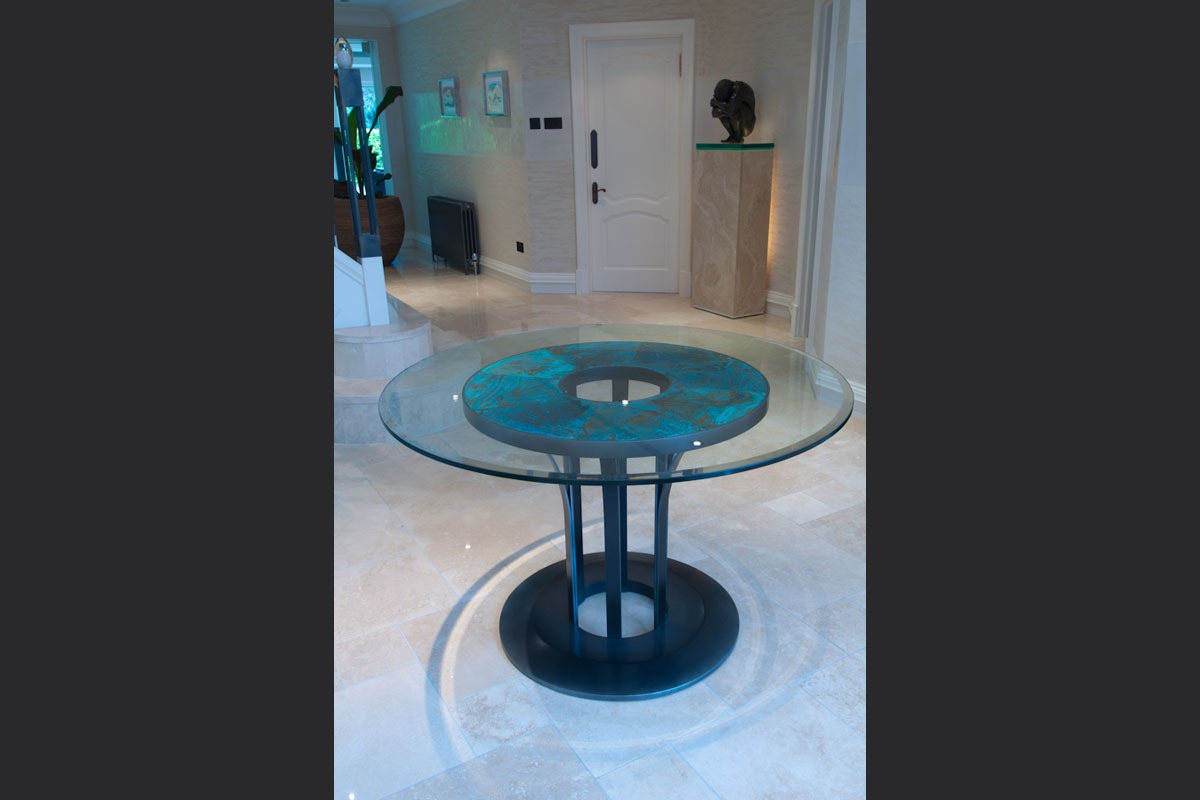 Hall-with-bespoke-patinated-copper-table.jpg - London Town House Residential Gallery - Definitive1 Interior Design