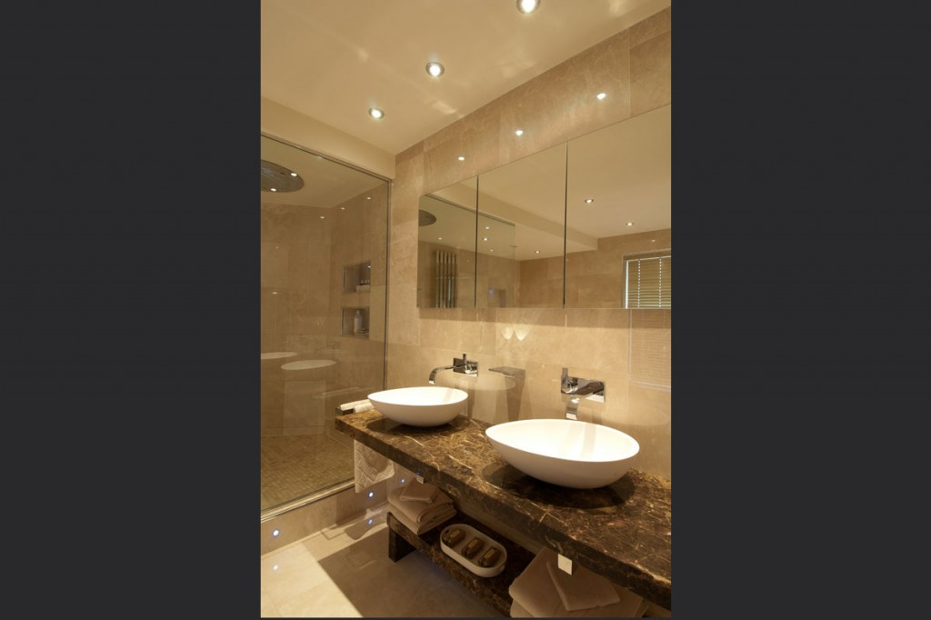 Lime Stone Bathroom With His And Hers Sinks Definitive1 Design