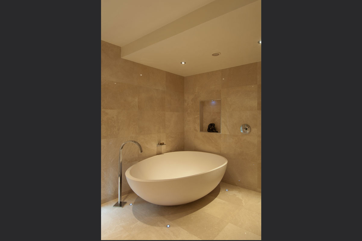 Limestone-bathroom-with-egg-bath.jpg - London Town House Residential Gallery - Definitive1 Interior Design