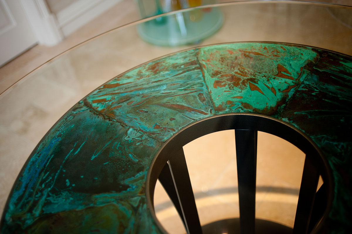 detail-of-copper-and-steel-table.jpg - London Town House Residential Gallery - Definitive1 Interior Design