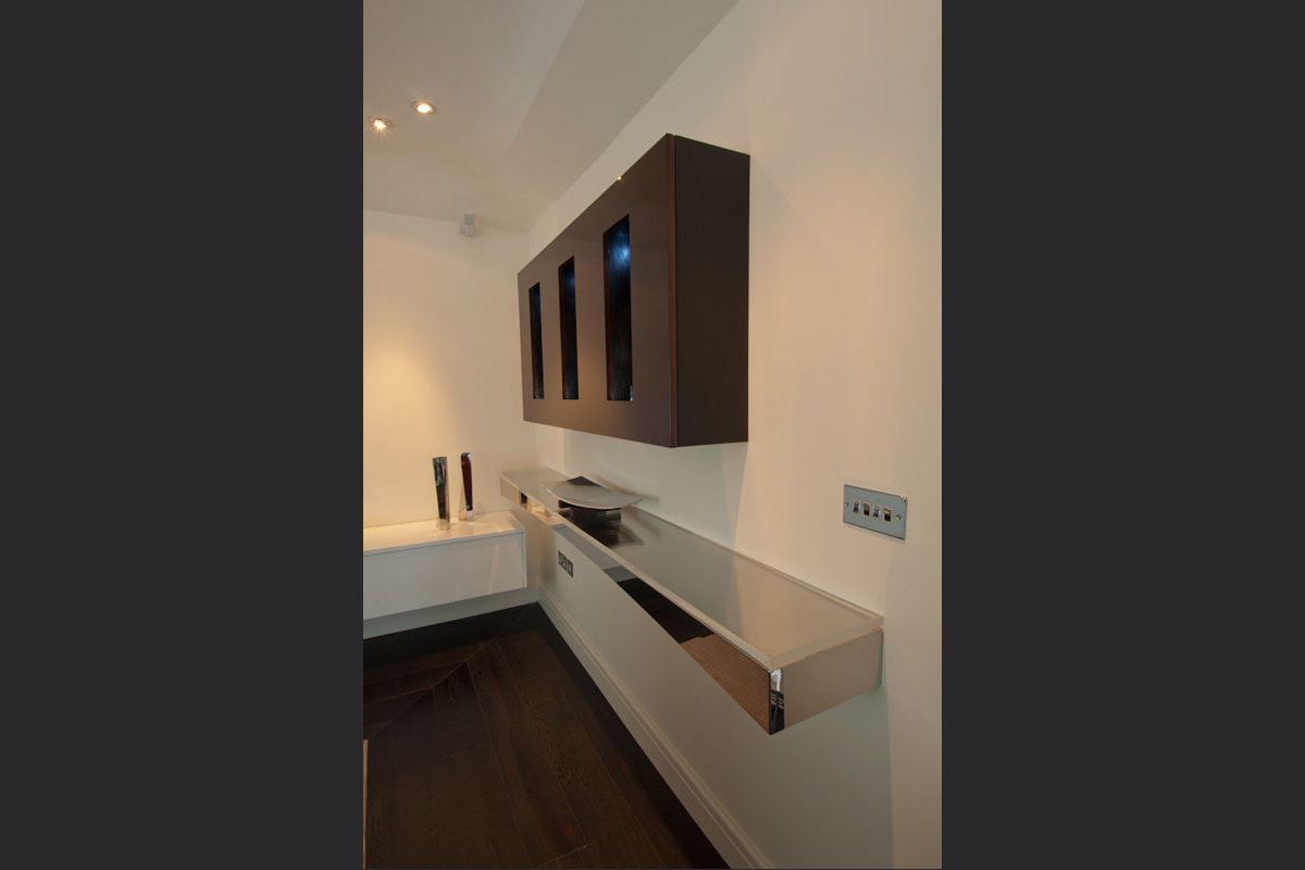wall-cabinet-and-canterlevered-stainless-steel-shelf.jpg - London Town House Residential Gallery - Definitive1 Interior Design