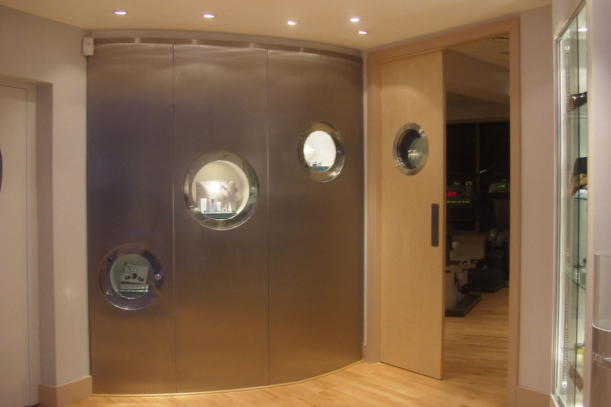 Stainless-Steel-wall-with-built-in-display-units.jpg - Built In Furniture Bespoke Gallery - Definitive1 Interior Design