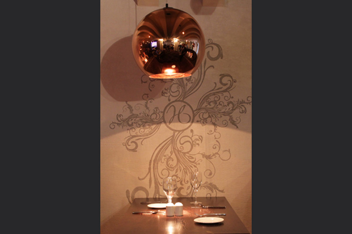 Tom-Dixon-lamp-with-malmorino-plaster-wall.jpg - Holdi Restaurant Commercial Gallery - Definitive1 Interior Design