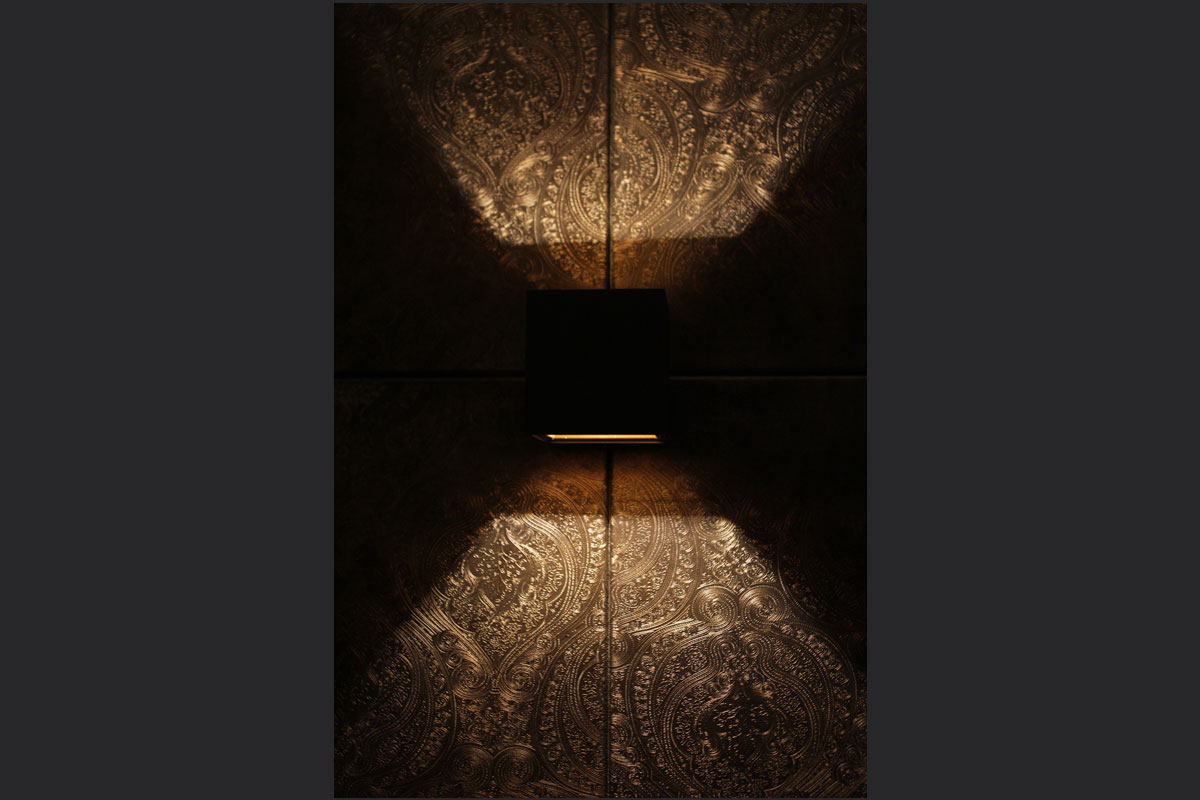 black-and-gold-wall-light-withfaux-leather-flock-wall.jpg - Holdi Restaurant Commercial Gallery - Definitive1 Interior Design
