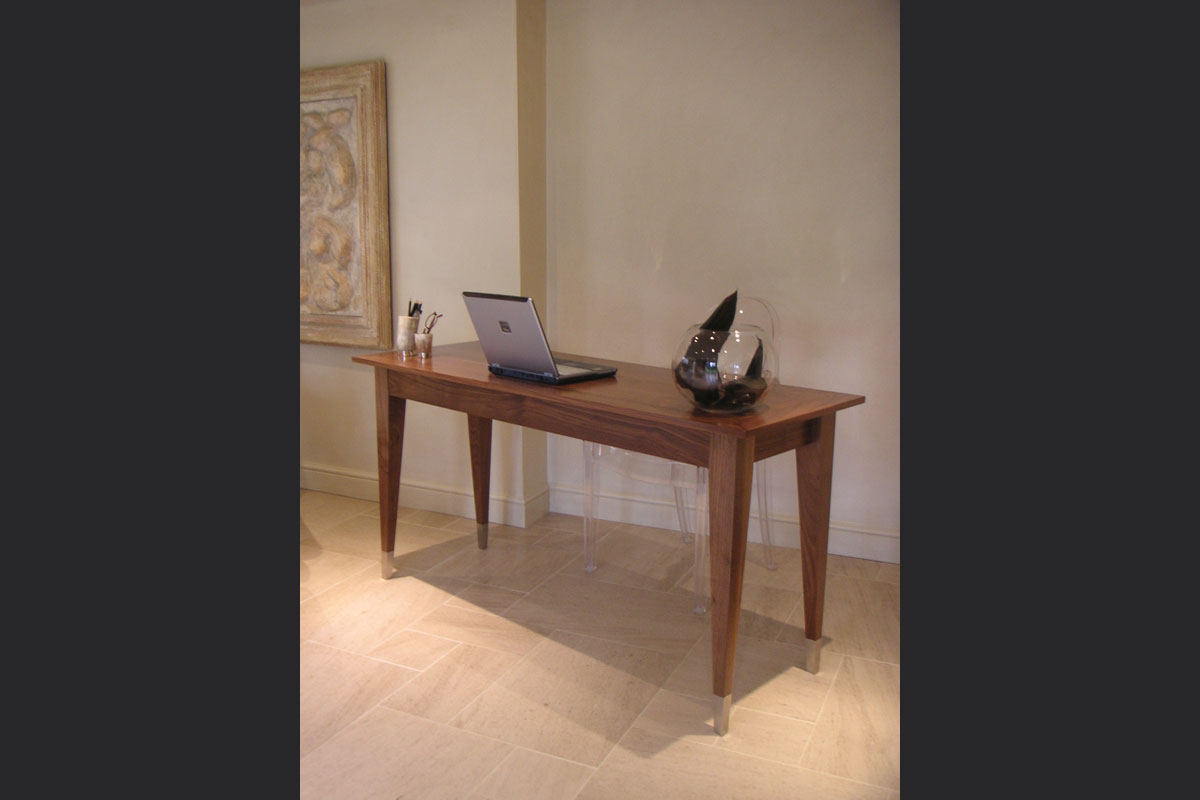 walnut-desk-with-brushed-stainless-steel-foot-detail.jpg - Desks And Cabinets Bespoke Gallery - Definitive1 Interior Design