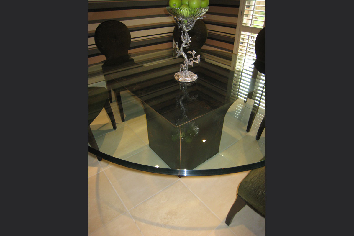 Bronzed-copper-pattinated-dining-table-base-with-beveled-glass-top.jpg - Tables Bespoke Gallery - Definitive1 Interior Design